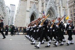 Members of the U.S. Navy march past St. Patricks Church during the St. Patrick's Day Parade, March 17, 2015, in New York. (Gordon Donovan)