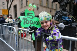 Raleigh from New Jersey celebrates her 5th birthday wjile watching the St. Patrick's Day Parade, March 17, 2015, in New York. (Gordon Donovan)