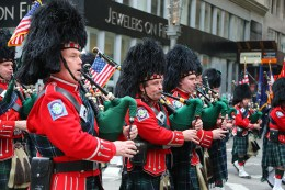 Members of FDNY Emerald Society make their way up Fifth Ave. during the St. Patrick's Day Parade, March 17, 2015, in New York. (Gordon Donovan)