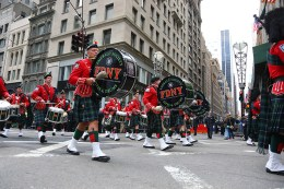 The FDNY Emerald Society Bagpipes march their way up Fifth Ave. during the St. Patrick's Day Parade, March 17, 2015, in New York. (Gordon Donovan)