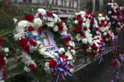 Wreaths honoring veterans are displayed around Madison Square Park in New York City on Nov. 11, 2015. (Gordon Donovan)