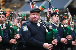 Members of the New York Fire Department's Emerald Society take up their bagpipes for the Veterans Day parade in Manhattan. (Gordon Donovan)