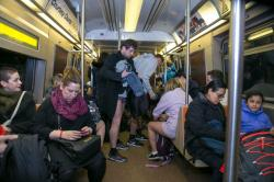 New York City: Participants of the No Pants Subway Ride remove their pants as onlookers watch on the subway in New York City, Sunday, Jan. 10, 2016. (Gordon Donovan/Yahoo News)