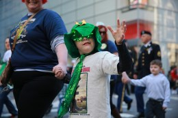 A boy marches with the 69th Infantry Regiment during the St. Patrick's Day Parade on March 17, 2016, in New York. (Gordon Donovan/Yahoo News)