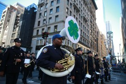 Members of the NYPD Emerald Society Pipe and Drums march on Fifth Avenue during the St. Patrick's Day Parade, March 17, 2014, in New York. (Gordon Donovan/Yahoo News)