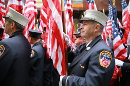 Members of the FDNY Color Guard await to march during the St. Patrick's Day Parade on March 17, 2016, in New York. (Gordon Donovan/Yahoo News)