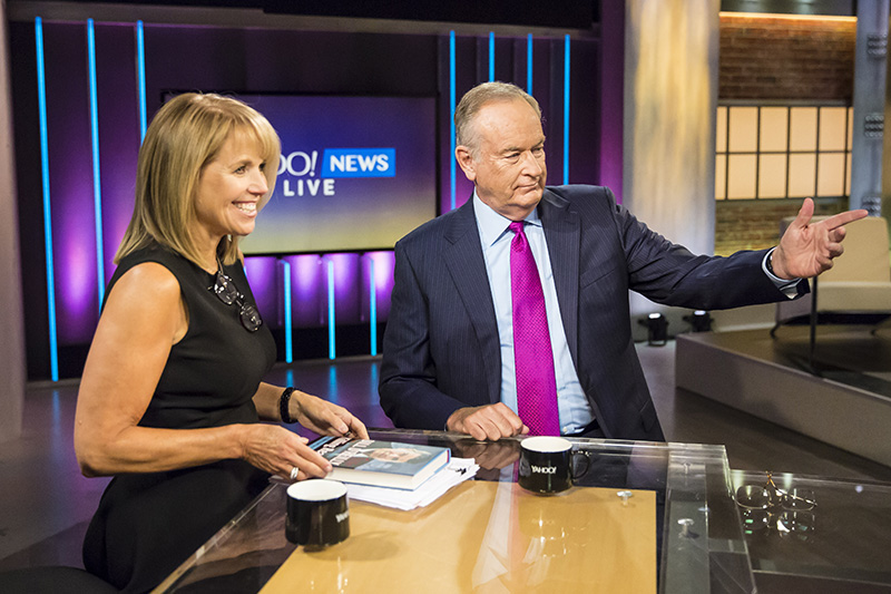 Yahoo Global News Anchor Katie Couric interviews television host and author Bill O'Reilly at the Yahoo Studios in New York City on Sept. 30, 2015. (Gordon Donovan/Yahoo News)