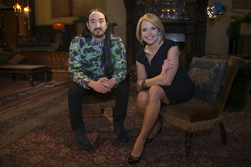 Yahoo Global News Anchor Katie Couric interviews electro house musician, record producer, and music executive Steve Aoki at the Jane Hotel in New York City on April 8, 2015. (Gordon Donovan/Yahoo News)