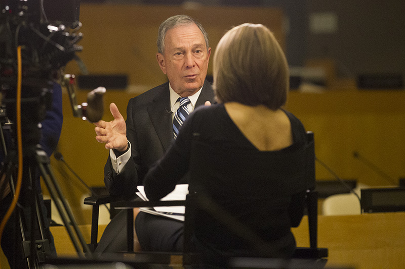 Yahoo News Global Anchor Katie Couric interviews Former NYC Mayor Michael Bloomberg at the United Nations in New York, NY on March 13, 2014. (Photograph by Gordon Donovan/Yahoo News)