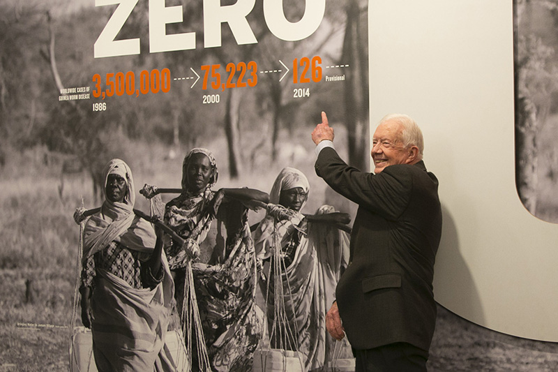 Former U.S. President Jimmy Carter poses for a photo at an exhibit at the Museum of Natural History in New York City, Monday Jan. 12, 2015. (Gordon Donovan/Yahoo News)