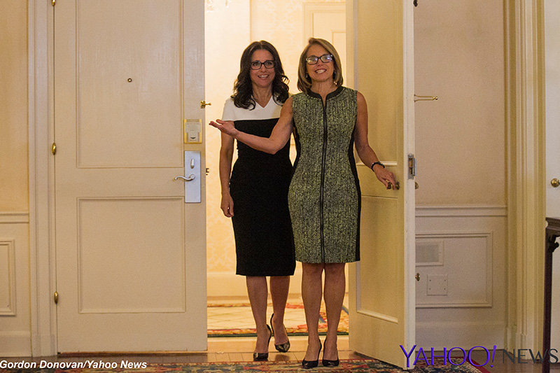 Actress, comedian and producer Julia Louis-Dreyfus is interviewed by Yahoo Global News Anchor Katie Couric at the Presidential Suite in the Waldorf Astoria hotel in New York City on April 6, 2015. (Gordon Donovan/Yahoo News)