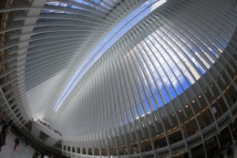 In an image taken with a fisheye lens, the ceiling of the Oculus mall at World Trade Center on Monday, August 22, 2016. (Gordon Donovan/Yahoo News)