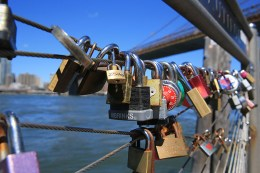 The love-lock trend, which some say began in Rome in 2006, has caught on at various locations worldwide, including Pier 1 in Brooklyn, shown here on August 23, 2016. (Gordon Donovan/Yahoo News)