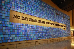 Every one of the 2,983 watercolor squares is its own shade of blue – one for each of the 2001 and 1993 attack victims – and the artwork as a whole revolves around the idea of memory. Our own perception of the color blue might not be the same as that of another person. But, just like our perception of color, our memories share a common point of reference. (Photo: Gordon Donovan/Yahoo News)
