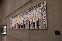 The National Tribute Quilt is among the new installations in the museum's Tribute Walk, an area for large-scale works of art created in the aftermath of 9/11. The 8-foot tall quilt contains nearly 3,500 fabric squares created by people in all 50 states and five countries. Stitched together, the squares depict the New York City skyline with the Twin Towers. The quilt also represents the Pentagon and the four flights hijacked on 9/11. (Photo: Gordon Donovan/Yahoo News)