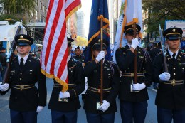 Cadets from the U.S. Military Academy at West Point carry the colors during the Veterans Day parade in New York City on Nov. 11, 2016. (Gordon Donovan/Yahoo News)
