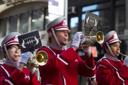 Members of the Lima Senior High School band perform during the Veterans Day parade on Fifth Avenue in New York on Nov. 11, 2016. (Gordon Donovan/Yahoo News)