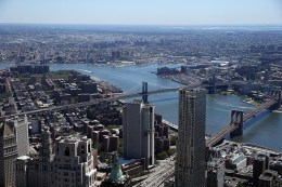 The Manhattan and Brooklyn Bridges spanning the East River from the observatory at One World Trade Center on Aug. 23, 2016 in New York City. (Gordon Donovan/Yahoo News)
