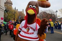The football turkey is prepared for the start of the 90th Macy's Thanksgiving Day Parade in New York, Thursday, Nov. 24, 2016. (Gordon Donovan/Yahoo News)