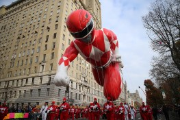 The 78-foot-long Red Ranger Morphin Power Ranger balloon is held down on Central Park West in the 90th Macy's Thanksgiving Day Parade in New York, Thursday, Nov. 24, 2016. (Gordon Donovan/Yahoo News)