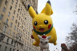 The Pikachu balloon floats in the 90th Macy's Thanksgiving Day Parade in New York, Thursday, Nov. 24, 2016. (Gordon Donovan/Yahoo News)