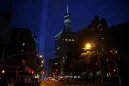 The Tribute in Light rises above the New York skyline from West Broadway with One World Trade Center to the right on Sept. 10, 2016. (Gordon Donovan/Yahoo News)