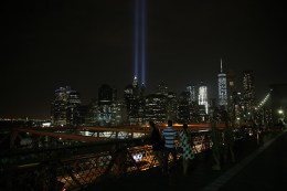 The Tribute in Light rises above the New York skyline from the Brooklyn Bridge on Sept. 10, 2016. (Gordon Donovan/Yahoo News)