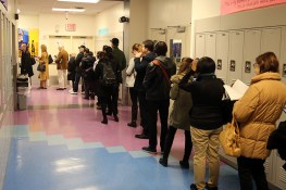 Voters stand in a long line outside a polling station in New York City on Tuesday, Nov. 8, 2016, in New York. (Gordon Donovan/Yahoo News)
