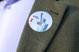 """A man wears a """"I voted"""" sticker on his jacket after casting his vote at a polling site in New York City, Tuesday, Nov. 8, 2016. (Gordon Donovan/Yahoo News)"""