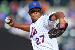 New York Mets relief pitcher Jeurys Familia (27) throws in the eighth inning of a baseball game against the Miami Marlins at Citi Field in New York, Wednesday, April 13, 2016. (Gordon Donovan)