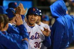 New York Mets Michael Conforto (30) after scoring in the third inning of a baseball game against the San Francisco Giants at Citi Field in New York, Friday, April 29, 2016. (Gordon Donovan)