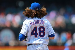 New York Mets starting pitcher Jacob deGrom (48) heads out on the field in the seventh inning of a baseball game against the Miami Marlins at Citi Field in New York, Wednesday, July 6, 2016. (Gordon Donovan)