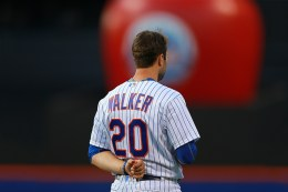 New York Mets Neil Walker stands for national anthem before the baseball game against the Arizona Diamondbacks at Citi Field in New York, Tuesday, Aug. 9, 2016. (Gordon Donovan)