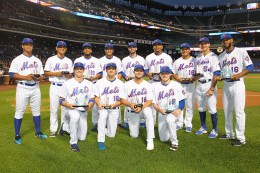 The New York Mets minor league players are honored with the 2016 Sterling Equities Awards,from left to right, top; Raul Beracierta, Andres Gimenez, Carlos Sanchez, Desmond Lindsay, Tomas Nido, Dominic Smith, Phillip Evans, T.J. Rivera, Amed Rosario. From left to right, bottom; Brandon Nimmo, Thomas Szapucki, David Thompson, P.J. Conlon, before the baseball game on Sept. 19, 2016. (Gordon Donovan)