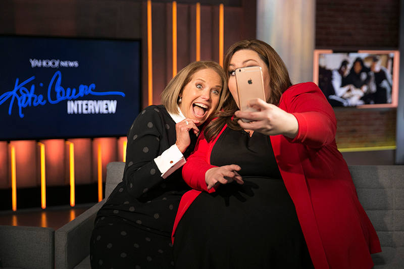 Yahoo Global News Anchor Katie Couric poses for a photo with actress Chrissy Metz at the Yahoo Studios in New York City on Feb. 16, 2017. (Gordon Donovan/Yahoo News)