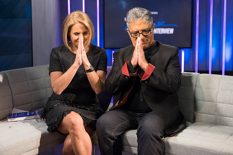 Yahoo Global News Anchor Katie Couric poses for a photo with author and alternative medicine advocate Deepak Chopra at the Yahoo Studios in New York City on April 13, 2017. (Gordon Donovan/Yahoo News)