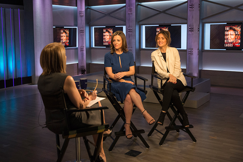 Yahoo Global News Anchor Katie Couric interviews author Rebecca Skloot and actress Rose Byrne at the Yahoo Studios in New York City on April 14, 2017. (Gordon Donovan/Yahoo News)