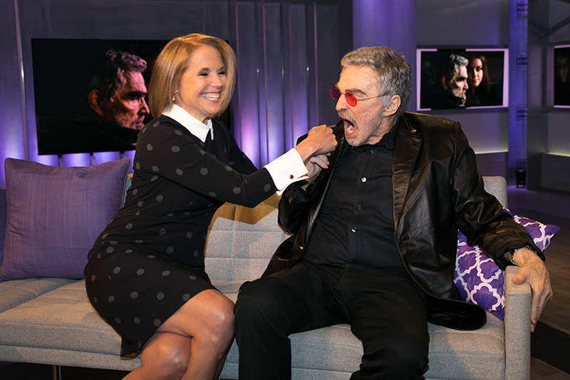Yahoo Global News Anchor Katie Couric poses for a photo with actor Burt Reynolds at the Yahoo Studios in New York City on April 21, 2017. (Gordon Donovan/Yahoo News)