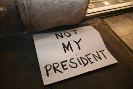 "Discarded sign ""Not My President"" from Women's March in New York City on Jan. 21, 2017. (Gordon Donovan/Yahoo News)"