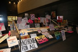 A shrine of discarded signs from the Women's March in New York City on Jan. 21, 2017. (Gordon Donovan/Yahoo News)