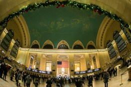 Christmas wreaths hang on the walls of Grand Central Terminal in New York City. (Gordon Donovan/Yahoo News)