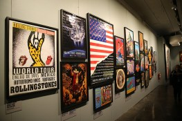 "Concert promotional posters hang on the walls of one of the galleries in the Rolling Stones' ""Exhibitionism."" (Gordon Donovan/Yahoo News)"
