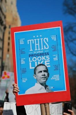 """A demonstrator holds up a sign featuring former U.S. President Barack Obama during the """"Not My President's Day"""" rally at Central Park West in New York City on Feb. 20, 2017. (Gordon Donovan/Yahoo News)"""