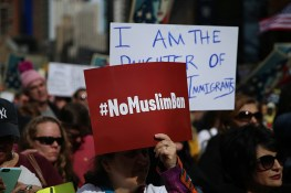 "A protester holds up #NoMuslimBan sign at the ""I am a Muslim too"" rally at Times Square in New York City on Feb. 19, 2017. (Gordon Donovan/Yahoo News)"