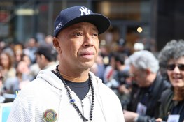 "Russell Simmons of Def Jam fame, co-hosted the ""I am a Muslim too"" rally at Times Square in New York City on Feb. 19, 2017. (Gordon Donovan/Yahoo News)"