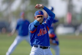 New York Mets prospect Marocs Molina is photogenic during morning stretches at the Mets spring training complex in Port St. Lucie, Fl., Saturday, Feb 25, 2017. (Gordon Donovan/Yahoo Sports)