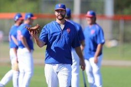 New York Mets Logan Taylor spins his glove like a basketball uring workouts at the Mets Spring Training Complex in Port St. Lucie, Fl., Saturday, Feb 25, 2017. (Gordon Donovan/Yahoo Sports)