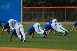 New York Mets prospects stretch before workouts at the New York Mets spring training facility in Port St. Lucie, Fl., Wednesday, March 1, 2017. (Gordon Donovan/Yahoo Sports)