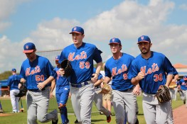 New York Mets prospects head in after workouts at the New York Mets spring training facility in Port St. Lucie, Fl., Wednesday, March 1, 2017. (Gordon Donovan/Yahoo Sports)