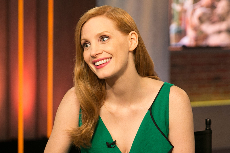 Actress Jessica Chastain is interviewed with Yahoo Global News Anchor Katie Couric at the Yahoo Studios in New York City on March 20, 2017. (Gordon Donovan/Yahoo News)